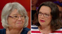"""""""Dunja Hayali"""": Arme Rentnerin bricht fast in Tränen aus – SPD-Chefin Nahles blockt Kritik ab"""
