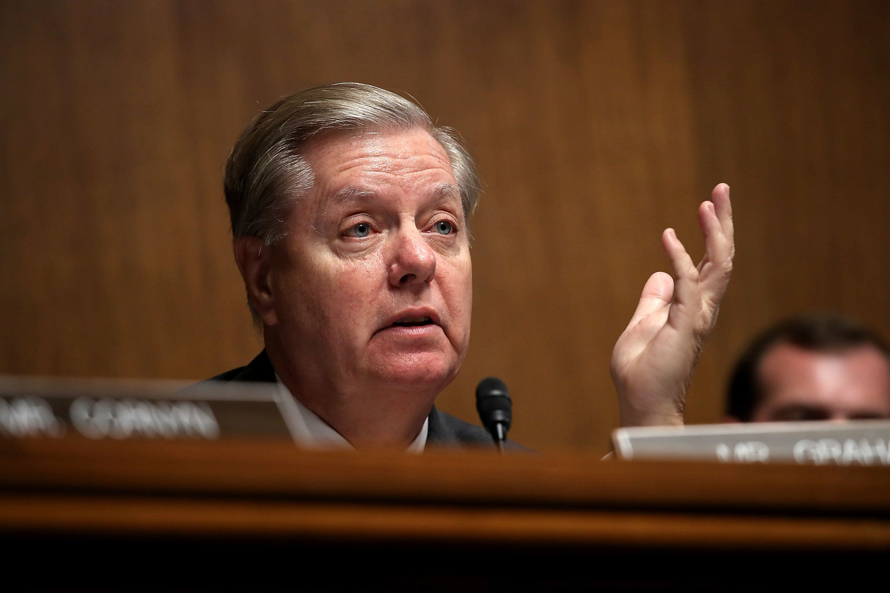 WASHINGTON, DC - JUNE 19:  Sen. Lindsey Graham (R-SC) questions U.S. Citizenship and Immigration Services Director L. Francis Cissna during a Senate Judiciary Committee hearing June 19, 2018 in Washington, DC. The committee heard testimony on recent immigration issues relating to border security and the EB-5 Investor Visa Program.  (Photo by Win McNamee/Getty Images)