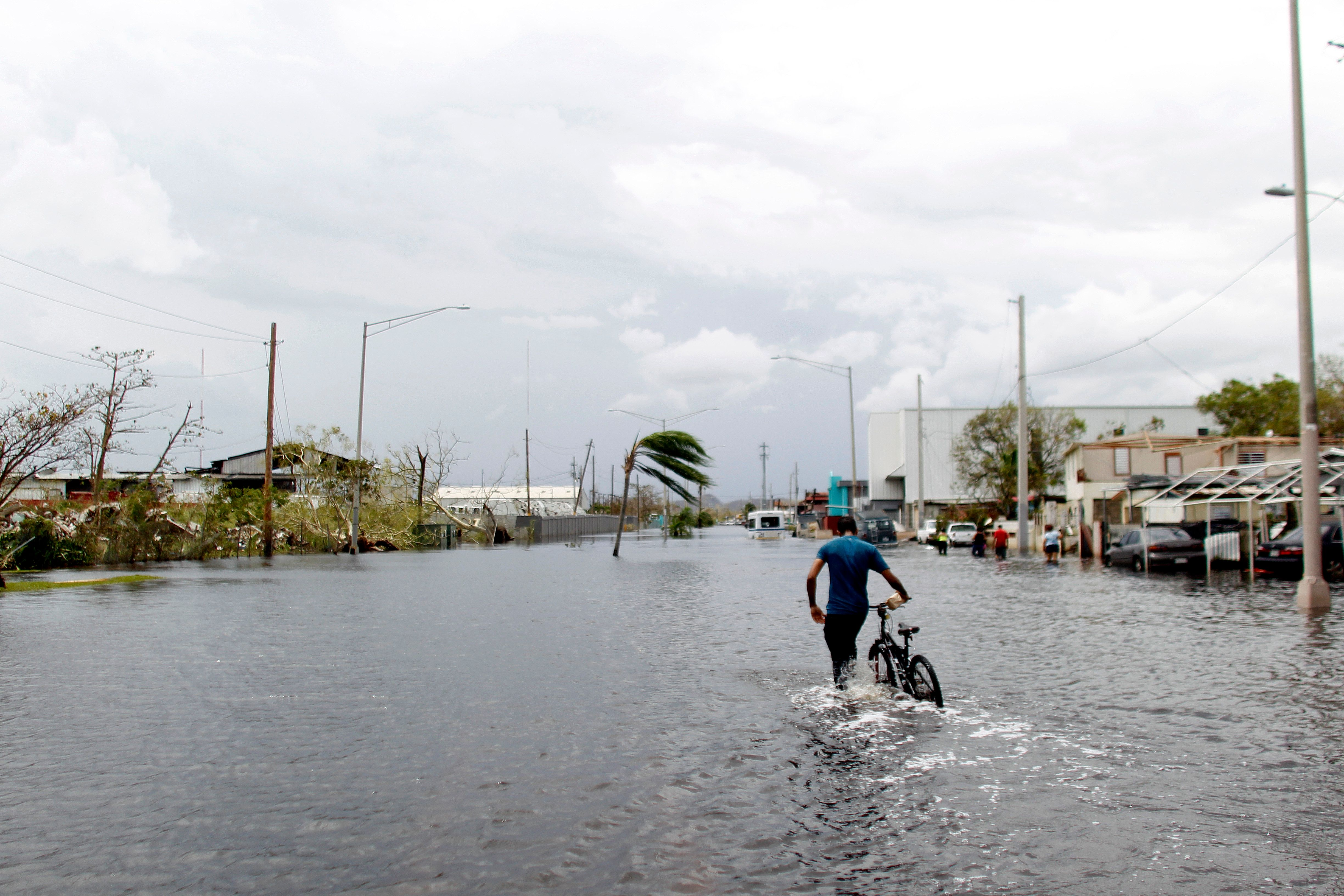 A man wades on the water while pushing his bicycle through a flooded street in the aftermath of Hurricane Maria in Catano, Puerto Rico, Friday, September 22, 2017. Puerto Rico battled dangerous floods Friday after Hurricane Maria ravaged the island, as rescuers raced against time to reach residents trapped in their homes and the death toll climbed to 33. Puerto Rico Governor Ricardo Rossello called Maria the most devastating storm in a century after it destroyed the US territory's electricity and telecommunications infrastructure.  / AFP PHOTO / Ricardo ARDUENGO        (Photo credit should read RICARDO ARDUENGO/AFP/Getty Images)