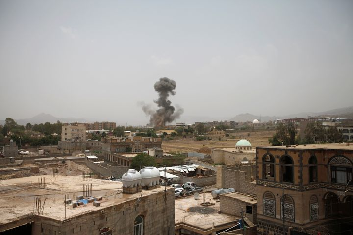 Smoke rises in Sanaa after an airstrike on August 9, 2018.