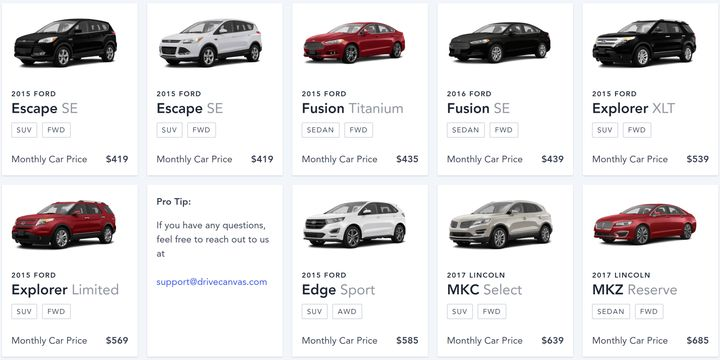 Canvas offers Ford and Lincoln vehicles starting at $329 per month.