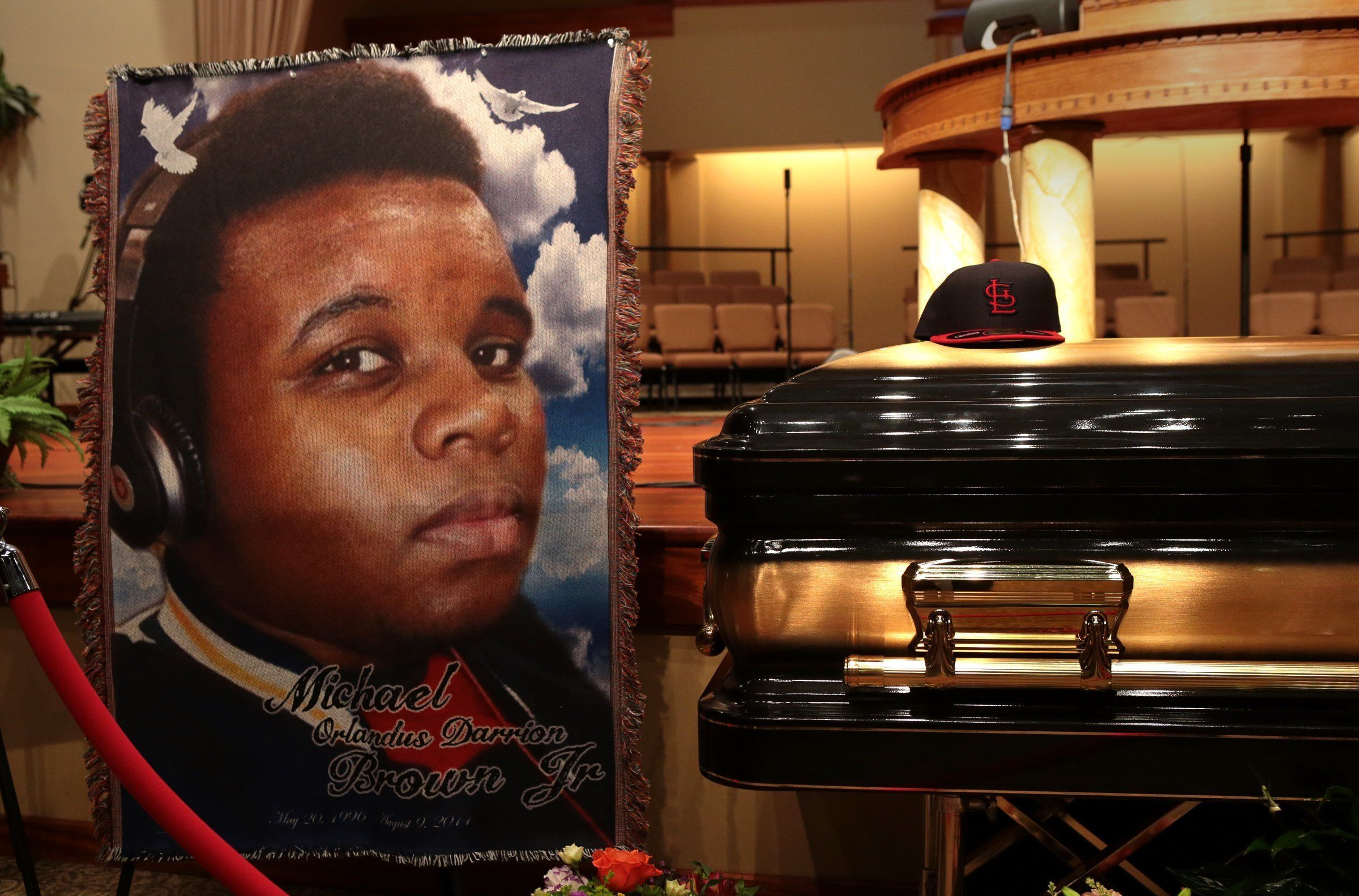The casket of Michael Brown sits inside Friendly Temple Missionary Baptist Church awaiting the start of his funeral on Aug. 2
