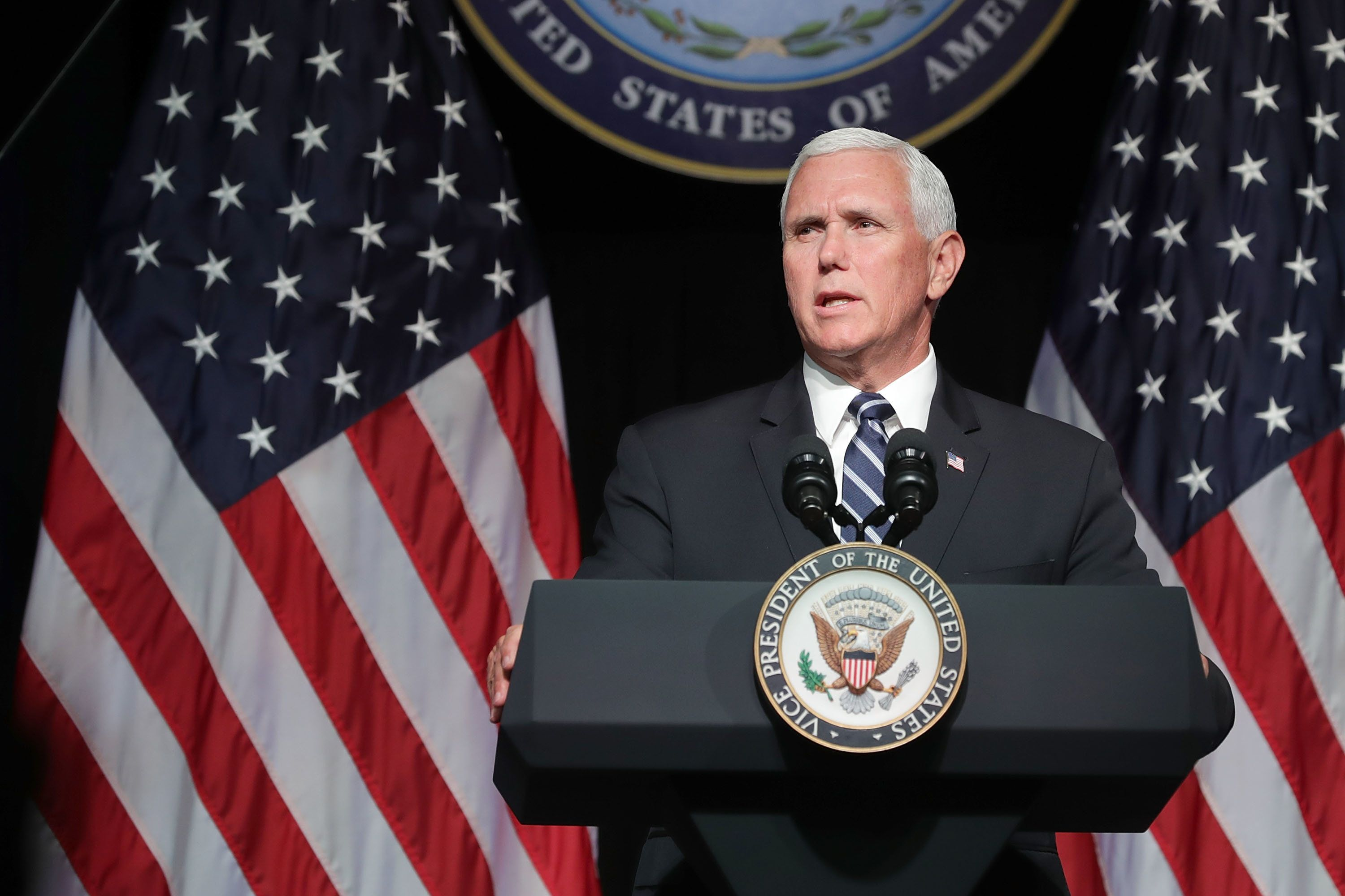 ARLINGTON, VA - AUGUST 09:  U.S. Vice President Mike Pence announces the Trump Administration's plan to create the U.S. Space Force by 2020 during a speech at the Pentagon August 9, 2018 in Arlington, Virginia. Describing space as adversarial and crowded and citing threats from China and Russia, Pence said the new Space Force would be a separate, sixth branch of the military.  (Photo by Chip Somodevilla/Getty Images)