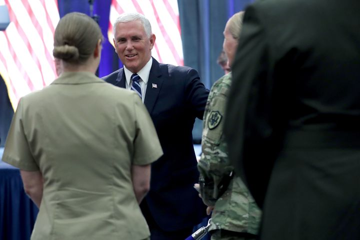 Pence greets audience members after announcing the Trump Administration's plan to create the U.S. Space Force.
