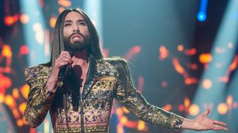 BARCELONA, SPAIN - JANUARY 29:  Conchita Wurst performs on stage for Operacion Triunfo Eurovision contest on January 29, 2018 in Barcelona, Spain.  (Photo by Robert Marquardt/Getty Images)