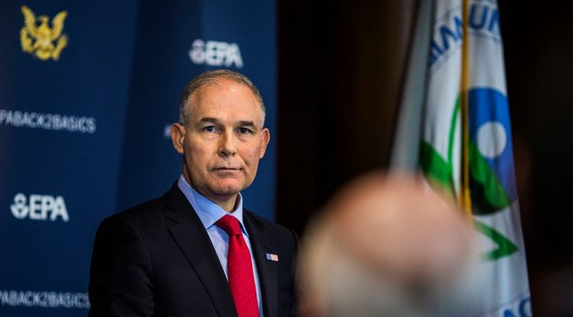 Then-Environmental Protection Agency Administrator Scott Pruitt speaking to the press on April