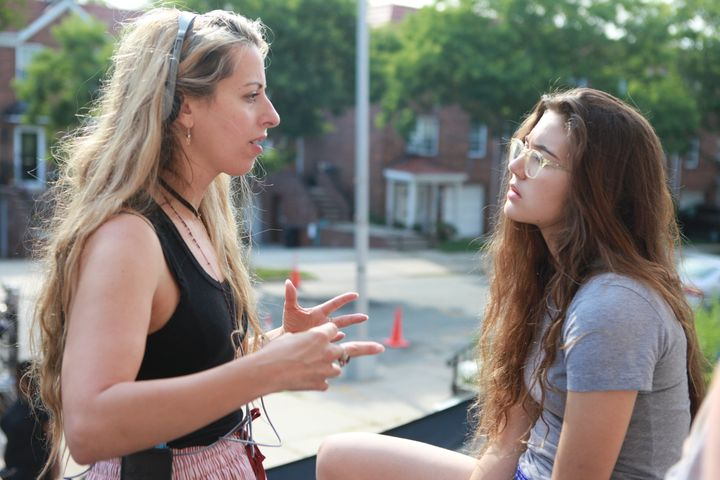 Director Crystal Moselle and actress Rachelle Vinberg on the set of