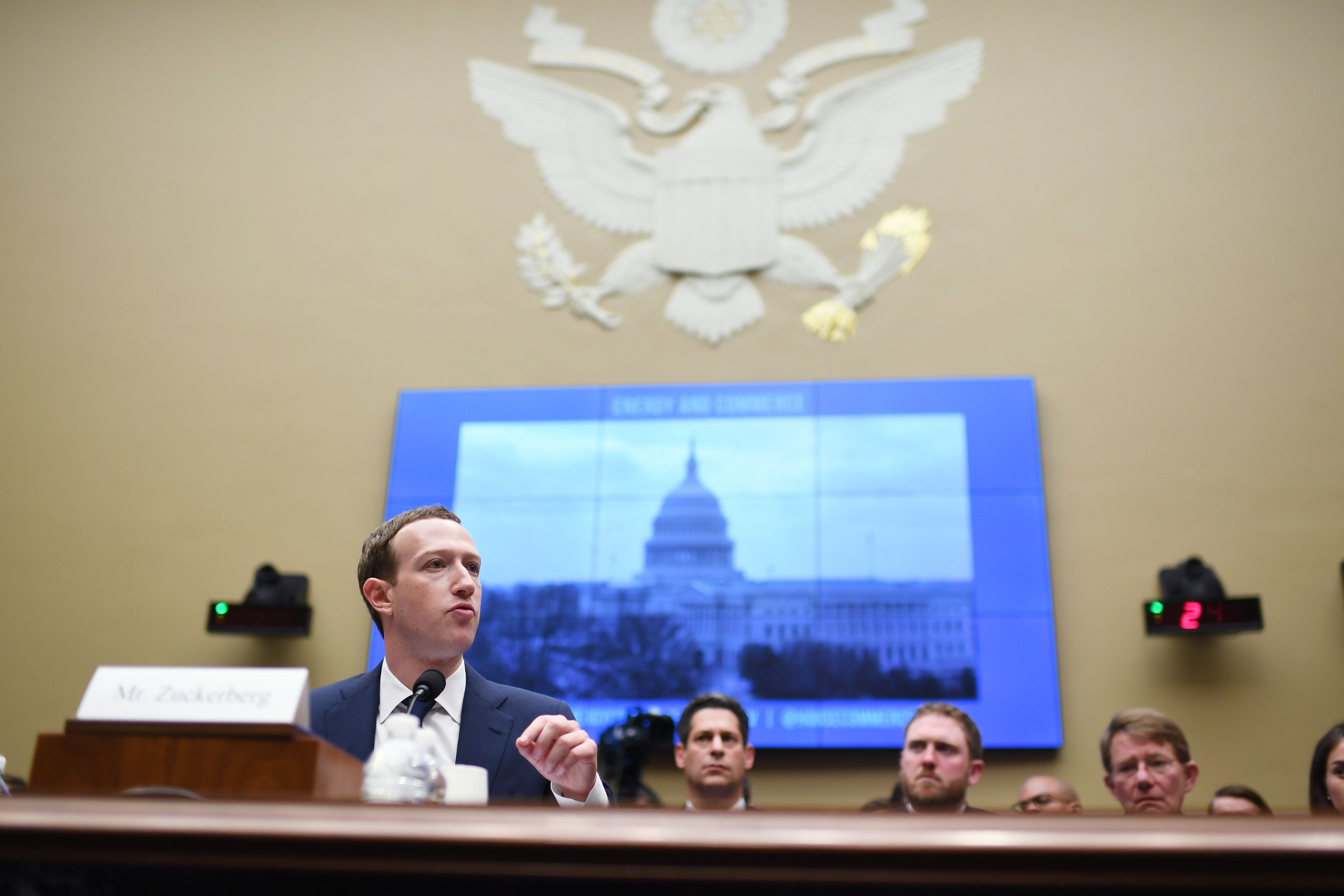 Facebook CEO Mark Zuckerberg at a House Energy and Commerce Committee hearing on April 11 in Washington.