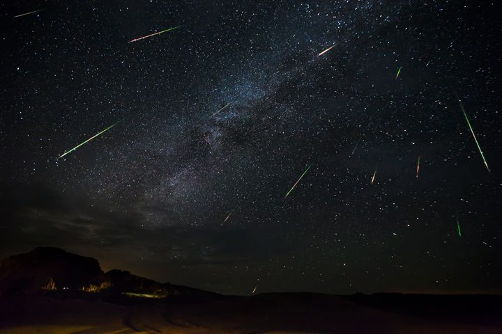 Jason Weingart captures meteors of the Perseid meteorshower as they dart across the night sky, on Aug. 14, 2016, in Terlingua