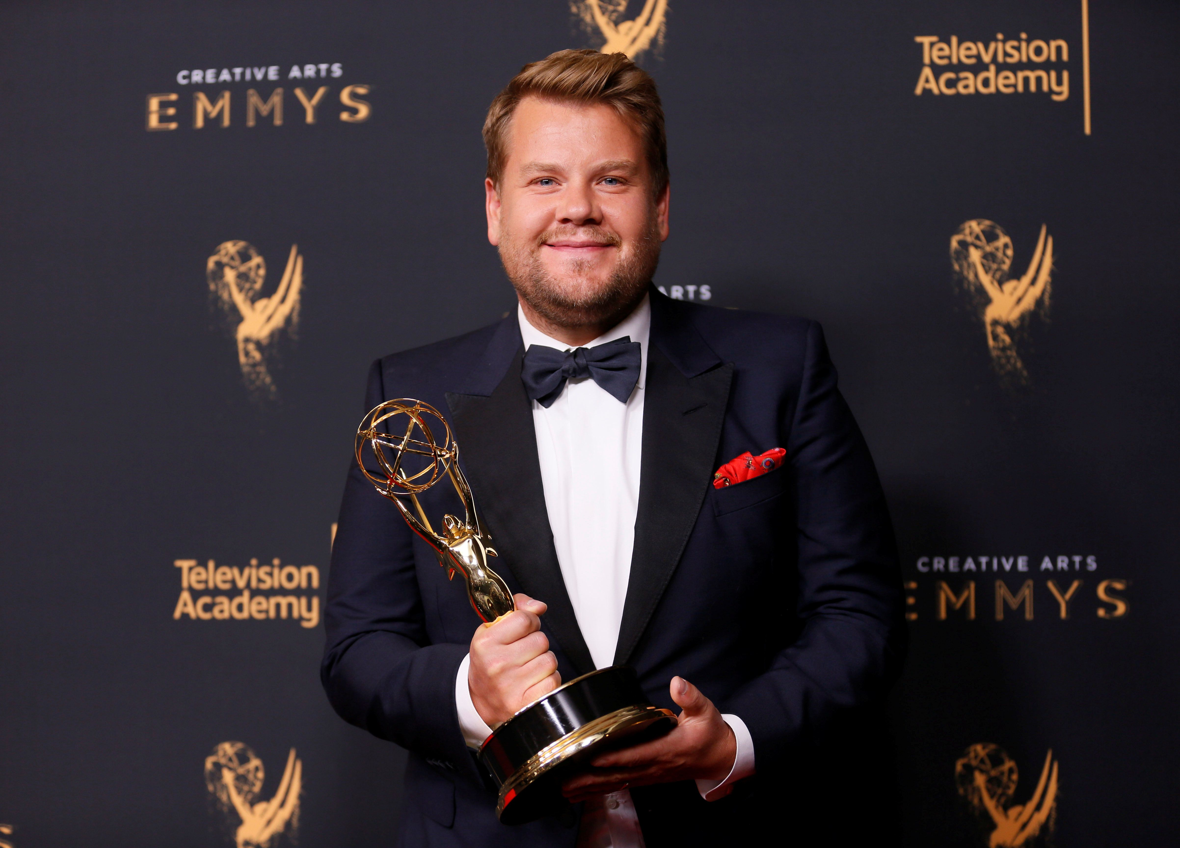 "Host James Corden holds an Emmy Award for Outstanding Variety Special for ""Carpool Karaoke"" backstage at the 2017 Creative Arts Emmy Awards in Los Angeles, California, U.S. September 9, 2017. REUTERS/Danny Moloshok"
