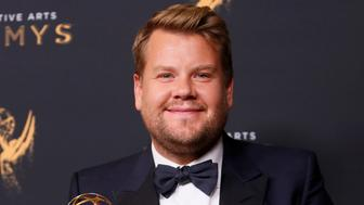 """Host James Corden holds an Emmy Award for Outstanding Variety Special for """"Carpool Karaoke"""" backstage at the 2017 Creative Arts Emmy Awards in Los Angeles, California, U.S. September 9, 2017. REUTERS/Danny Moloshok"""