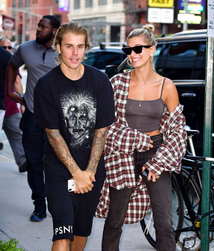 Justin Bieber and Hailey Baldwin on Aug. 8 in New York City.