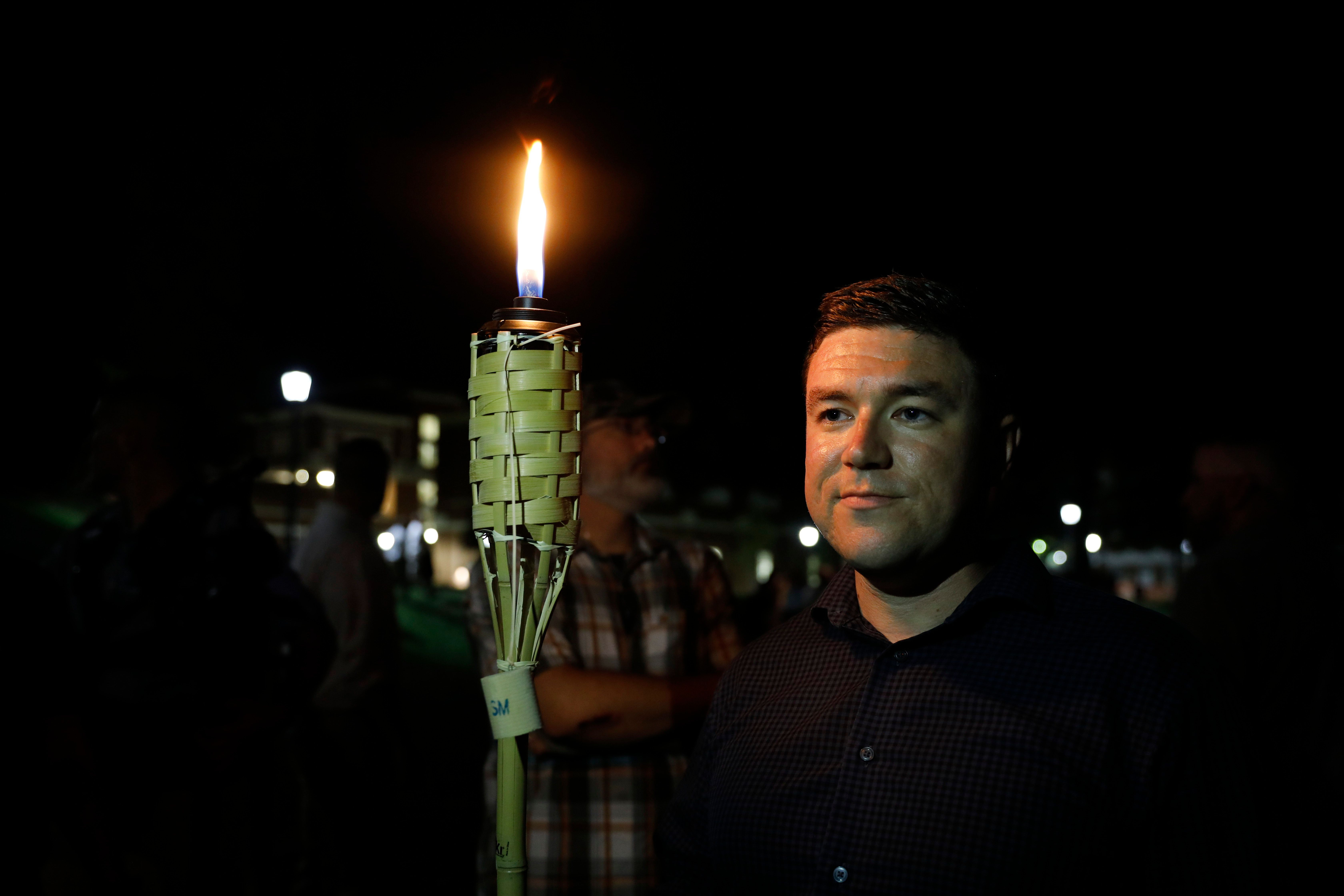 CHARLOTTESVILLE,VA-AUG11: Jason Kessler, the organizer of the Unite the Right rally before the torch march at the University of Virginia. (Photo by Evelyn Hockstein/For The Washington Post via Getty Images)