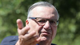 PHOENIX, AZ - MAY 22:  Former Maricopa County Sheriff Joe Arpaio speaks to the media in front of the Arizona State Capitol before filing petitions to run for the U.S. Senate on May 22, 2018 in Phoenix, Arizona. Arpaio, who was convicted of criminal contempt of court for disobeying a 2011 court order in an immigration case, was pardoned by President Donald Trump in August 2017.  (Photo by Ralph Freso/Getty Images)