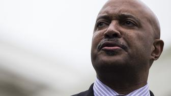 Curtis Hill, Indiana attorney general, speaks during a press conference following a meeting with U.S. President Donald Trump, not pictured, on school safety at the White House in Washington, D.C., U.S., on Thursday, Feb. 22, 2018. Trump called for paying bonuses to teachers who carry guns in the classroom, embracing a controversial proposal to curb school shootings hours after offering a full-throated endorsement of the National Rifle Association. Photographer: Zach Gibson/Bloomberg via Getty Images