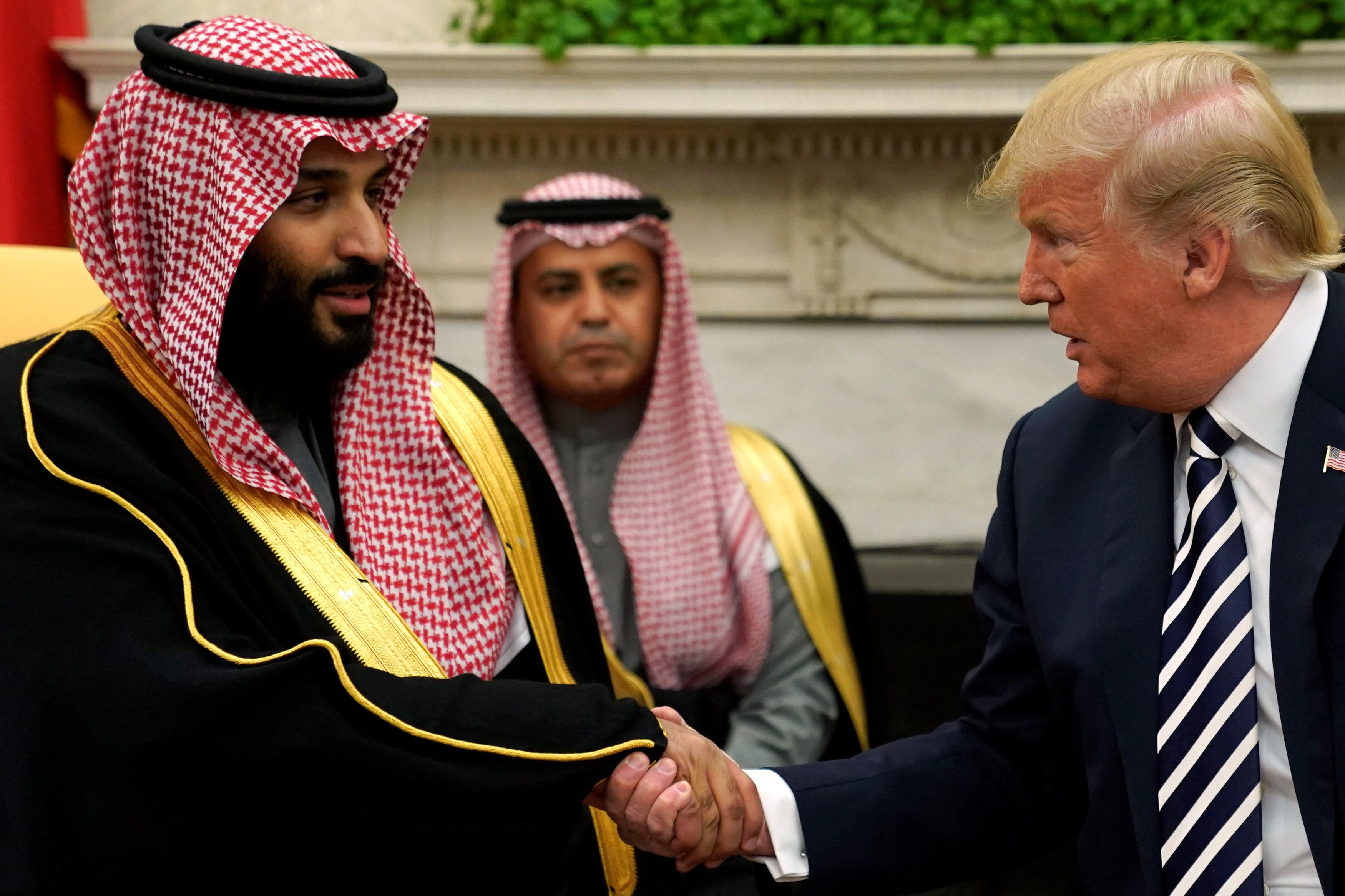 Saudi Arabia's Crown Prince Mohammed bin Salman meets with U.S. President Donald Trump at the White House on March 20.
