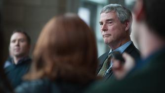 CLAYTON, MO - MARCH 13:  Robert P. 'Bob' McCulloch, Prosecuting Attorney for St. Louis County speaks to the media during a news conference on March 13, 2017 in Clayton, Missouri. Tension and protest in Ferguson has arisen in response to video footage of slain 18 year-old Michael Brown in a recent documentary. (Photo by Michael B. Thomas/Getty Images)