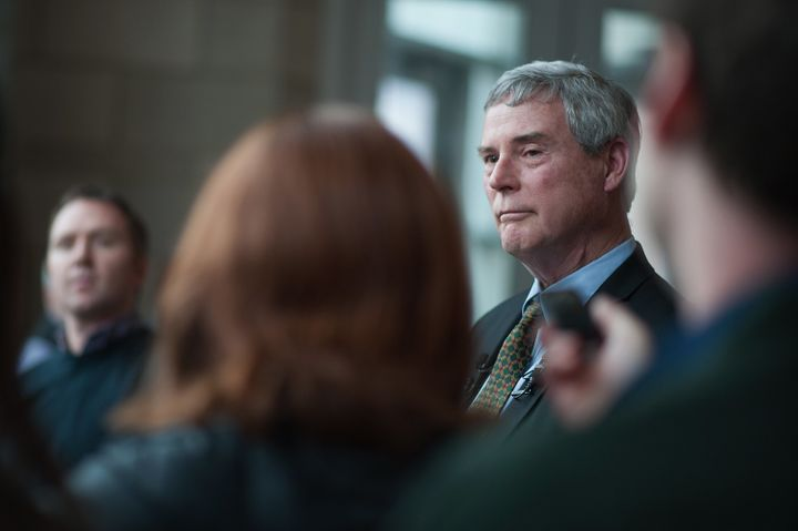 Bob McCulloch, the prosecuting attorney for St. Louis County, speaks at a news conference in Clayton, Missouri on March