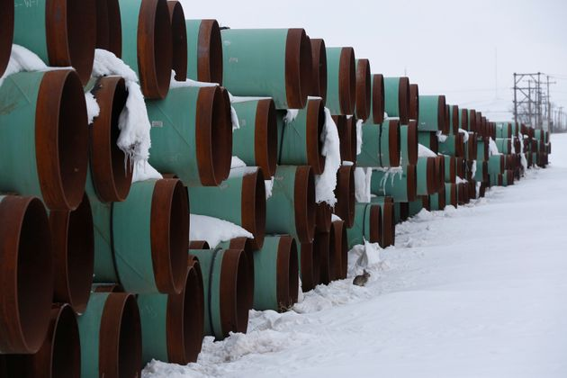 A depot in North Dakota used to store pipes for an unbuilt segment of the Keystone XL pipeline in