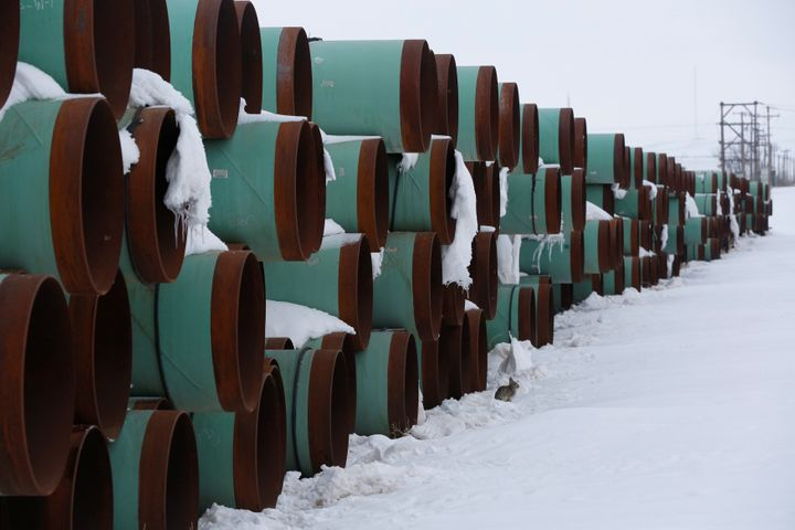 A depot in North Dakota used to store pipes for an unbuilt segment of the Keystone XL pipeline in 2017.