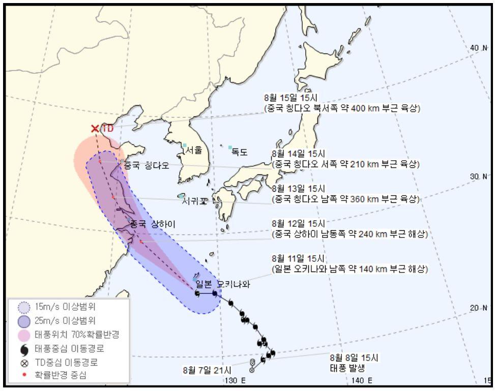 태풍 '야기'는 한국의 폭염에 아무런 영향도 주지 않을 전망이다 (예상