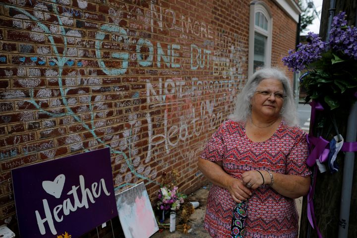 Susan Bro, mother of Heather Heyer, who was killed during the August 2017 white nationalist rally in Charlottesville, stands