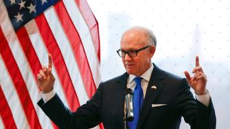 United States ambassador to the Court of St James Woody Johnson speaks during a press preview at the new United States embassy building near the River Thames in London, Britain December 13, 2017. REUTERS/Alastair Grant/Pool