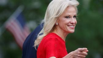 White House counselor Kellyanne Conway smiles at the news media as she goes to make a TV appearance at the White House in Washington, D.C., U.S., June 13, 2018. REUTERS/Leah Millis
