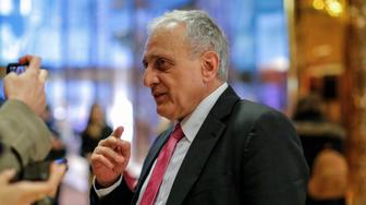 American businessman Carl Paladino speaks to the media meetings with President-elect Donald Trump at Trump Tower on December 5, 2016 in New York. / AFP / KENA BETANCUR        (Photo credit should read KENA BETANCUR/AFP/Getty Images)