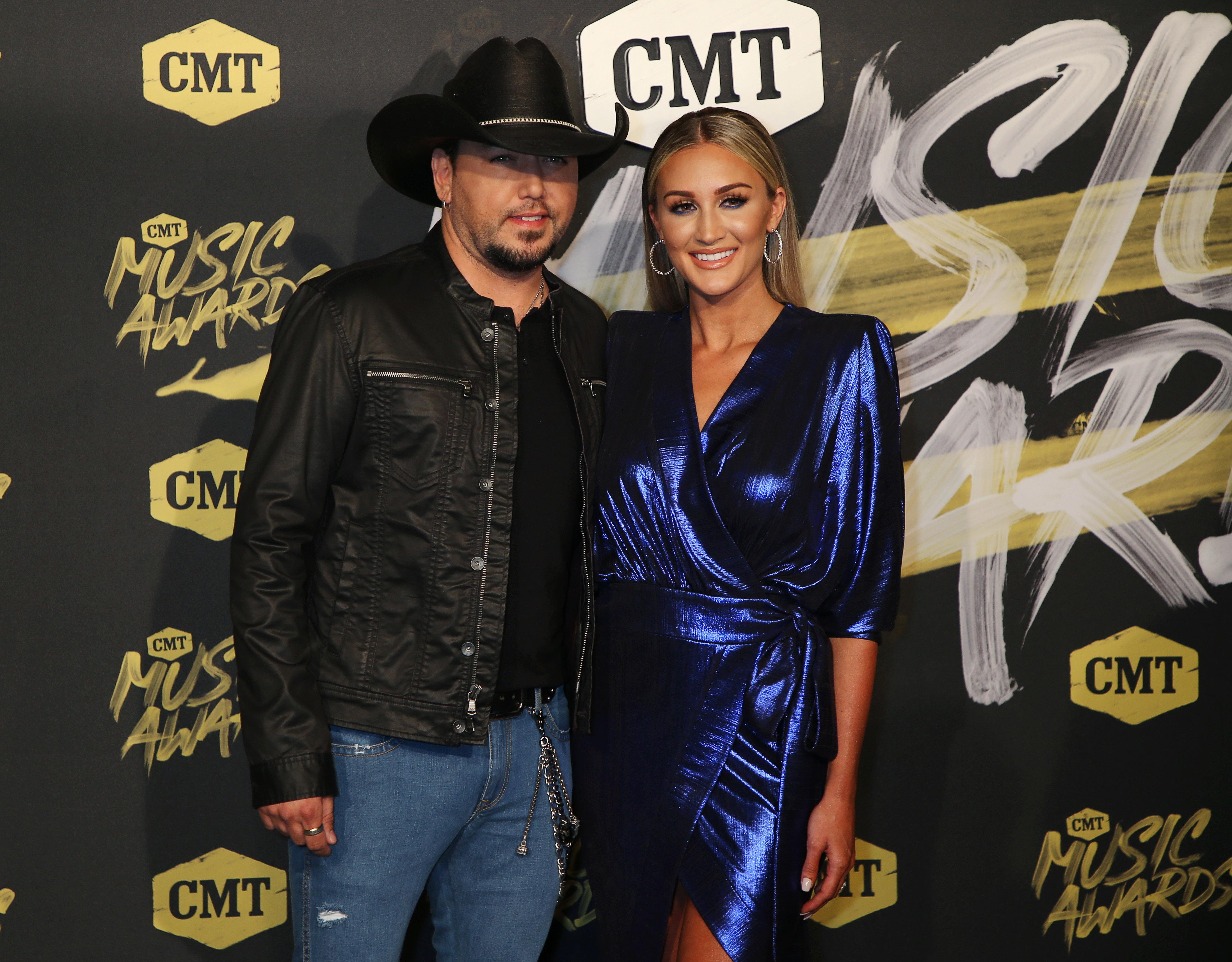 2018 CMT Music Awards - Arrivals - Nashville, Tennessee, U.S., June 6, 2018 - Jason Aldean and Brittany Kerr. REUTERS/Jamie Gilliam
