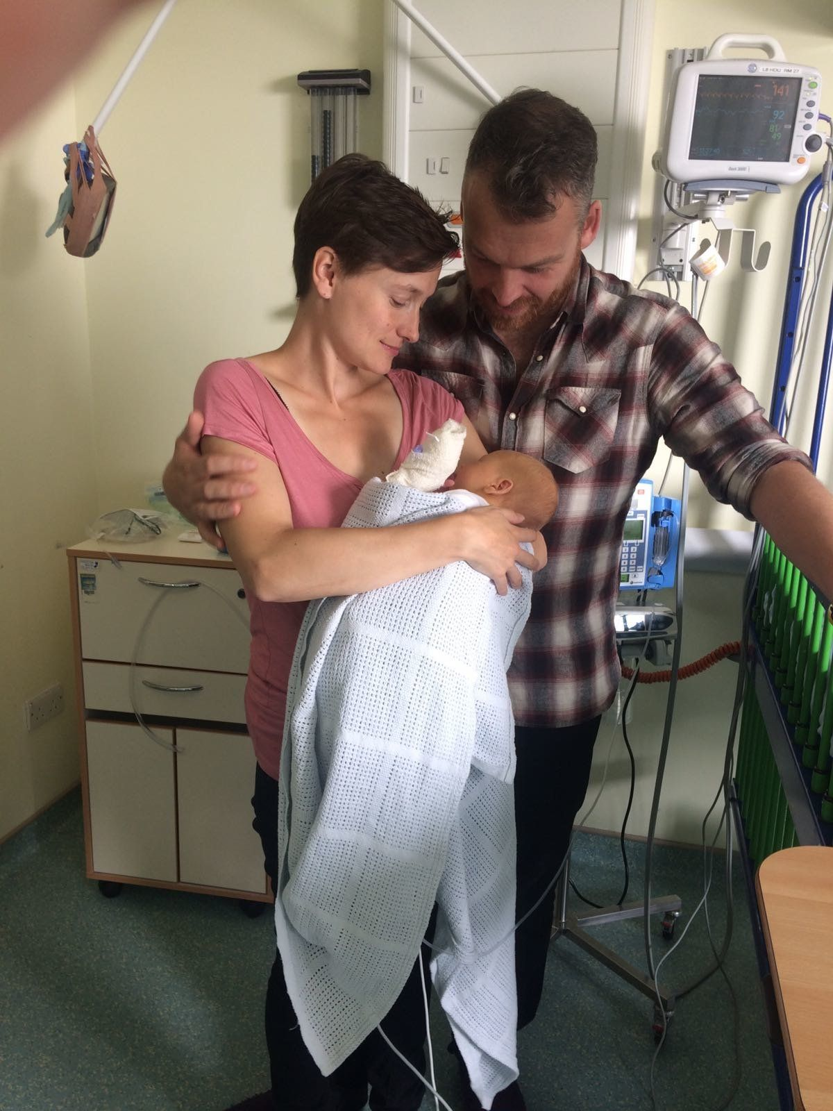 Sarah Higson and James de Malplaquet with their baby,
