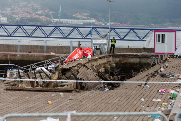 The wooden platform in Vigo suddenly collapsed as crowds watched a rap artist perform on Sunday