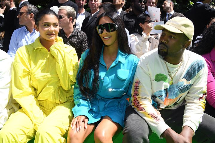 Kylie Jenner, Kim Kardashian and Kanye West at the Louis Vuitton Menswear Spring/Summer 2019 show.