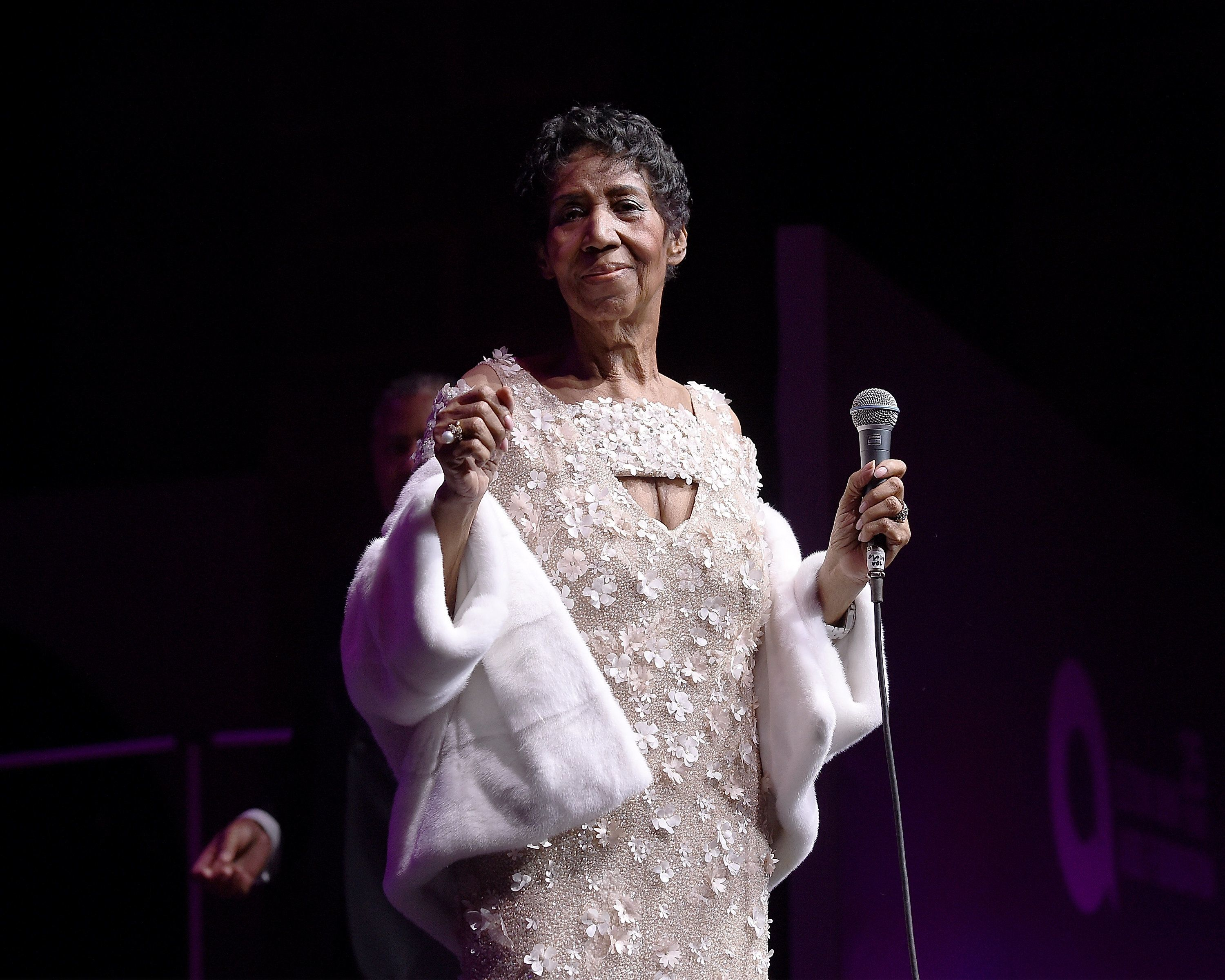 Aretha Franklin performs on stage at the Elton John AIDS Foundation Commemorates Its 25th Year And Honors Founder Sir Elton J