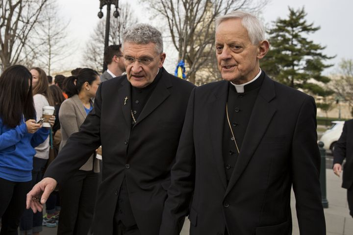 David Zubik (left), bishop of the Diocese of Pittsburgh, and Cardinal Donald Wuerl, archbishop of Washington, arrive at the S