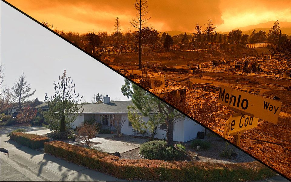 california wildfires before and after images capture terrifying