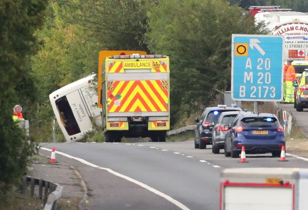 The scene on the the M25 exit slip road at J3, at Swanley on the anti-clockwise carriageway, after a...