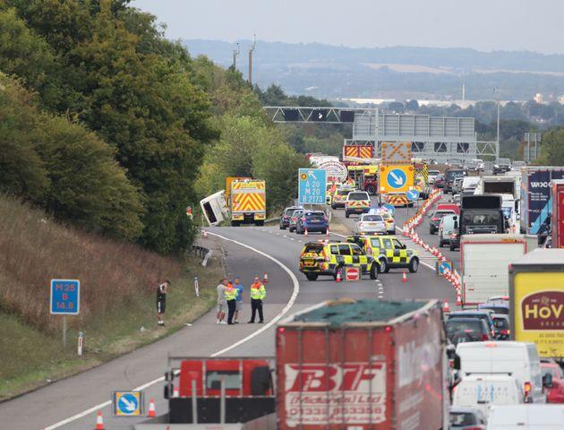 M25 Crash: 41 Injured As Coach Overturns On Motorway In
