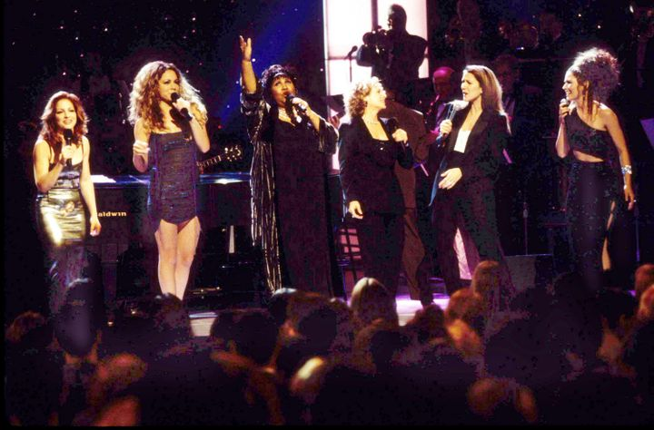 "Gloria Estefan, Mariah Carey, Aretha Franklin, Carole King, Celine Dion and Shania Twain at ""Divas Live."""
