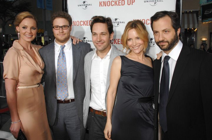 """Katherine Heigl, Seth Rogen, Paul Rudd, Leslie Mann and Judd Apatow, director/writer/producer of """"Knocked Up."""""""