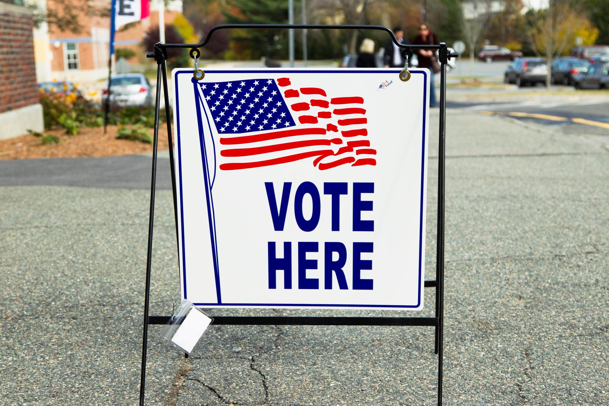 An election polling place station during a United States election.