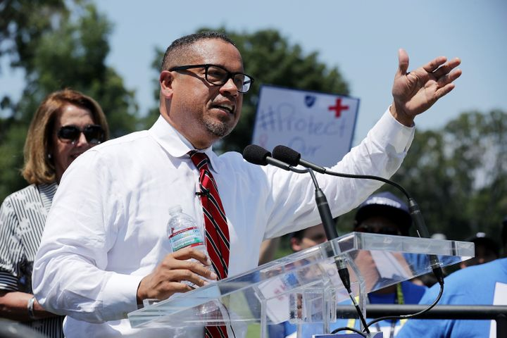 Rep. Keith Ellison (D-Minn.) addresses a rally against education funding cuts outside the U.S. Capitol in July 2017. Days bef