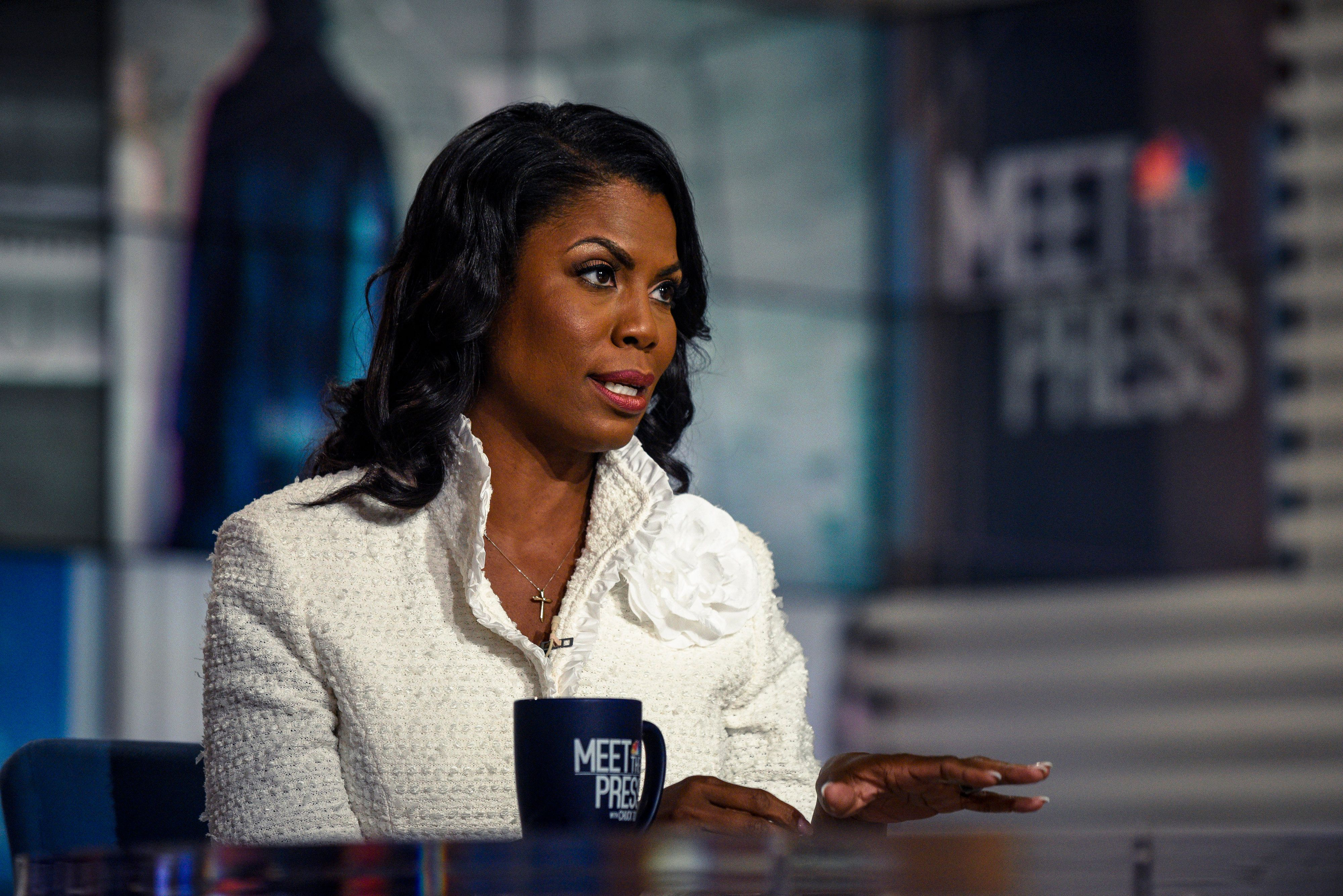 MEET THE PRESS -- Pictured: (l-r)  Omarosa Manigault Newman, Former Assistant to President Donald Trump and Director of Communications for the White House Office of Public Liaison; Author, Unhinged: An Insider's Account of the Trump White House appears in an exclusive interview on 'Meet the Press' in Washington, D.C., Sunday, August 12, 2018.  (Photo by: William B. Plowman/NBC/NBC NewsWire via Getty Images)