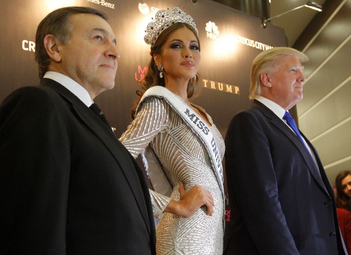 Russian businessman Aras Agalarov, Miss Universe 2013 Gabriela Isler and Trump at a news conference after the Miss Universe p