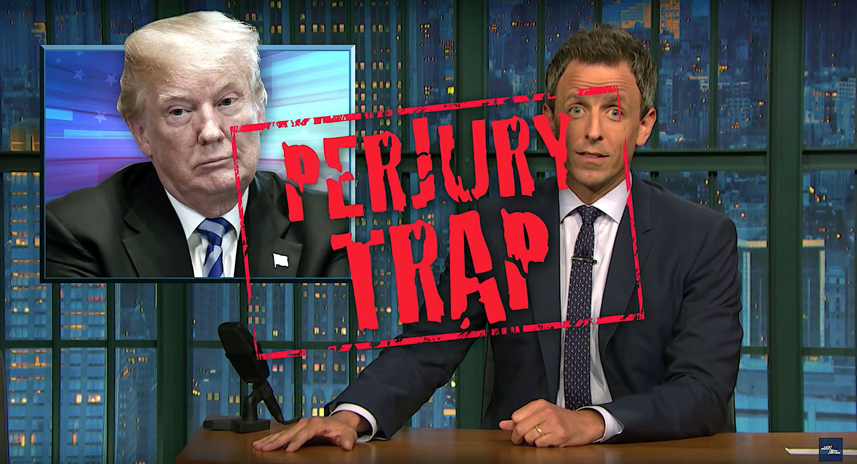 Seth Meyers of Late Night looks at the credibility of President Donald Trump his lawyers and Omarosa Manigault Newman