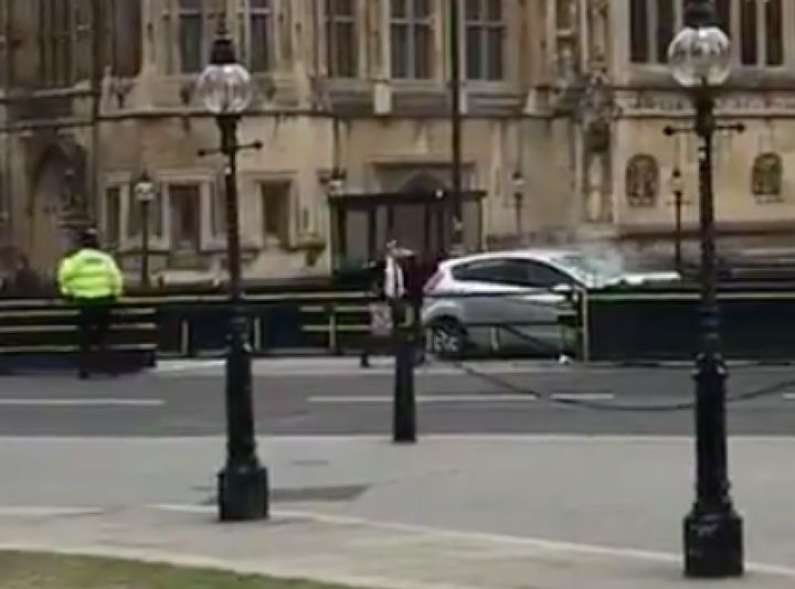 An image from social media of the car crashed into the barrier.