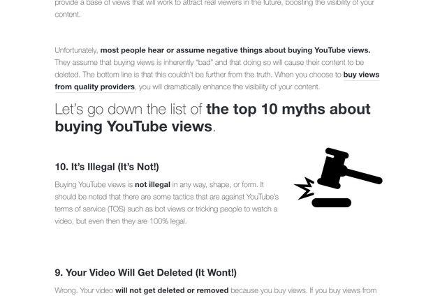 유튜브 조회수를 조작해도 불법이 아니라고 광고하는