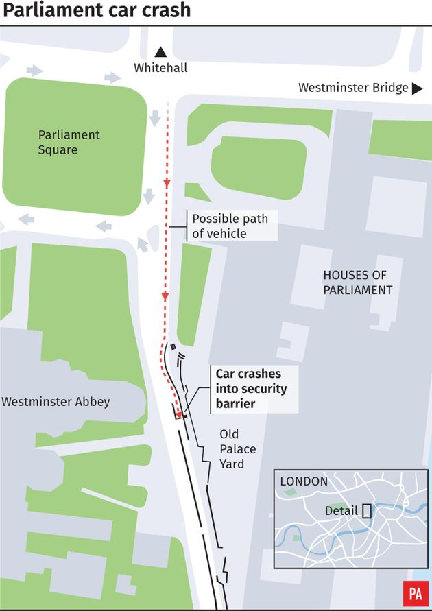 Westminster Crash: Man Arrested After Car Hits Barriers Outside