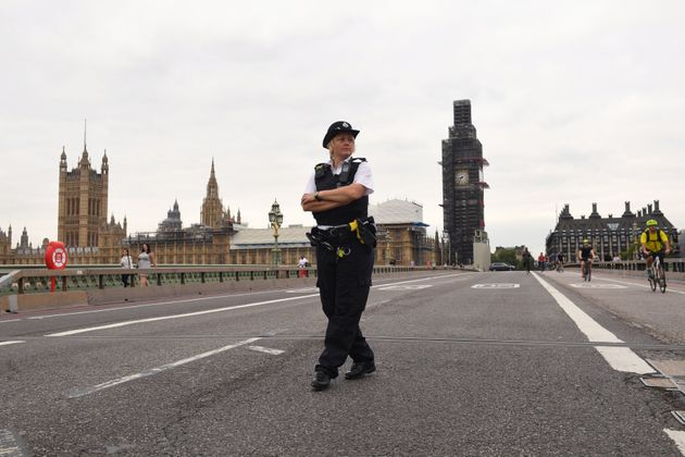 Police on Westminster Bridge.