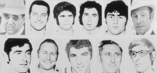 Portraits of the eleven Israeli athletes and coaches slain in West Germany at the 1972 Olympic Games....